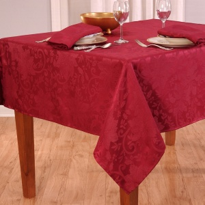 Elrene Home Fashions Poinsettia Damask Red Tablecloth