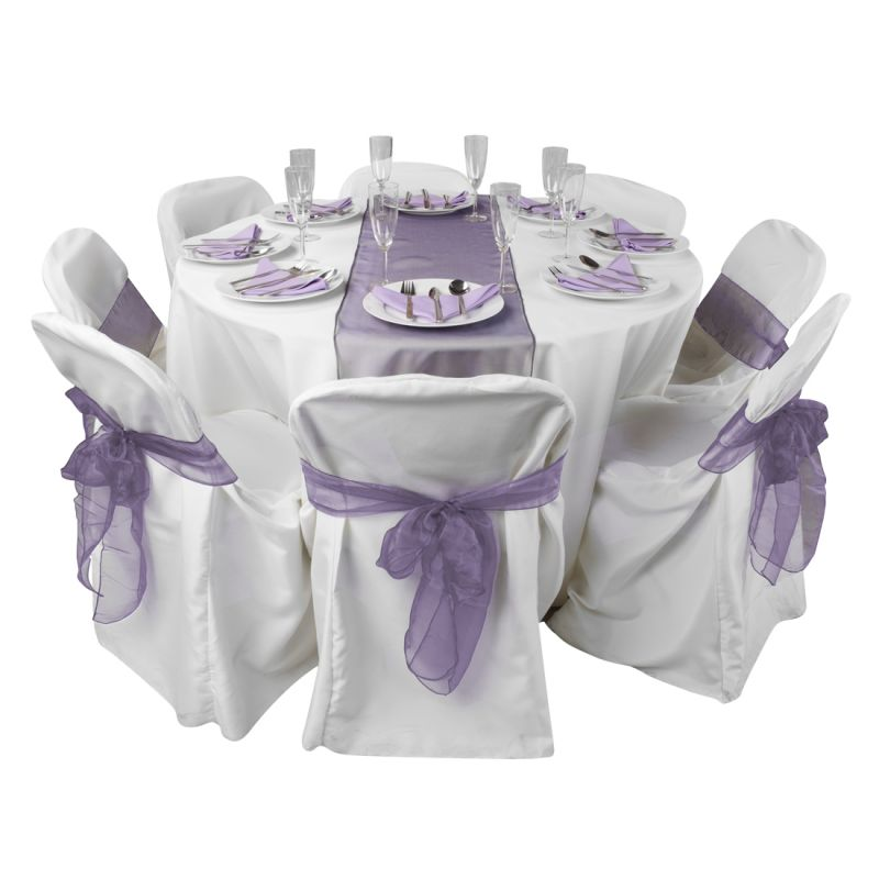 Space Living Table Setting White Purple Runner White Chair Cover Lavender