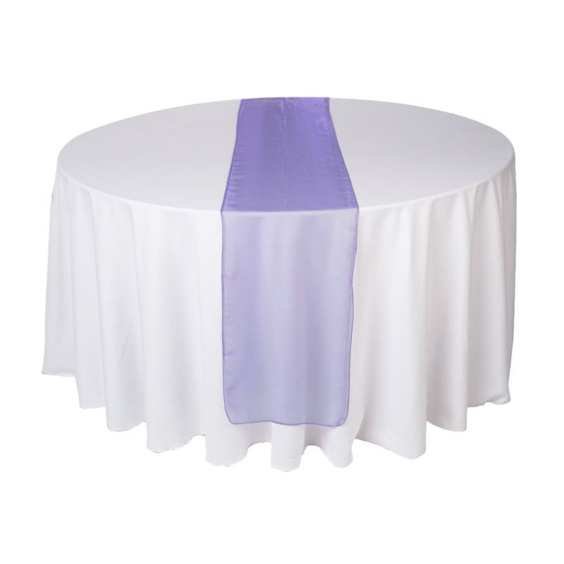 Table Setting White Purple Runner White Chair Cover Lavender Napkin Purple